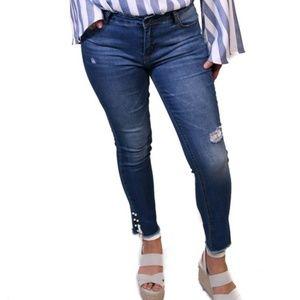 Denim - Blue Jeans pearl embellished on sale